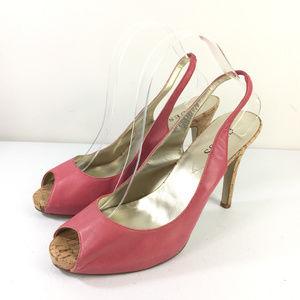 Guess Pink Slingback 9.5 Heels peep Toe Leather
